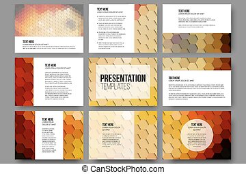Set of 9 templates for presentation slides. Colorful geometric backgrounds, abstract hexagonal vector patterns