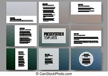 Set of 9 templates for presentation slides. Geometric blurred backgrounds, abstract hexagonal vector patterns