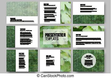 Set of 9 templates for presentation slides. Green leaves texture. Abstract multicolored backgrounds. Natural geometrical patterns. Triangular and hexagonal style