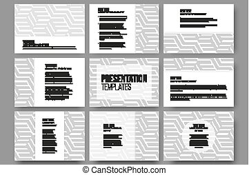 Set of 9 templates for presentation slides. Modern stylish geometric backgrounds with cubes. Simple abstract monochrome vector texture