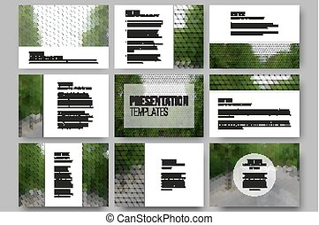 Set of 9 templates for presentation slides. Park landscape. Abstract multicolored backgrounds. Natural geometrical patterns. Triangular and hexagonal style