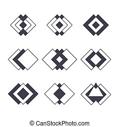 Set of 9 trendy geometric shapes. Hipster logotypes collection. Sacred geometry vector bundle. Ethnic tattoo