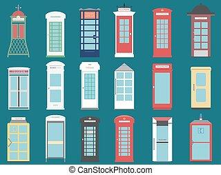 Set of 9 United Kingdom Telephone Boxes from England,...