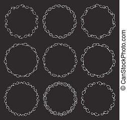 Set of 9 vector decorative round frames on black background