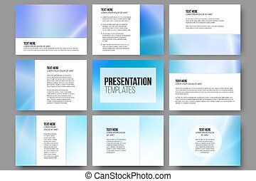 Set of 9 vector templates for presentation slides. Blue abstract design background