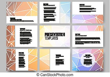 Set of 9 vector templates for presentation slides. Colorful graphic design, abstract background