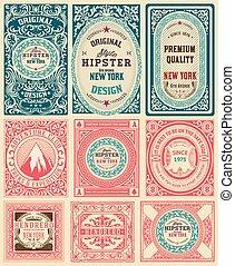 Set of 9 vintage labels