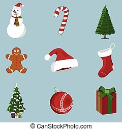 Set of 9 XMas icon. Cartoon style. Vector Illustration for Christmas day