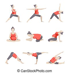 Set of 9 Yoga poses for Pregnant women. Prenatal exercise. ...