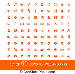 Set of 90 orange icons for web and mobile devices