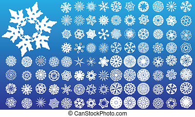 Set of 97 highly detailed complex snowflakes. Vector Image