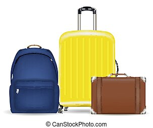 set of a bag luggage suitcase and backpack