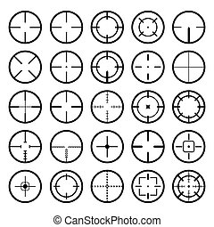 set of a black gun scope crosshair vector
