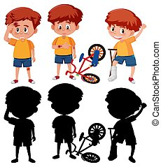 Set of a boy cartoon character in different positions with its silhouette