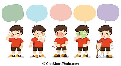 Set of A boy get sick with speech frame isolated on white background. Vector illustration