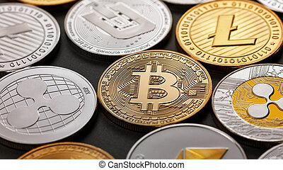Set of a coin of crypto currency on a dark background. Business, finance and technology concept.