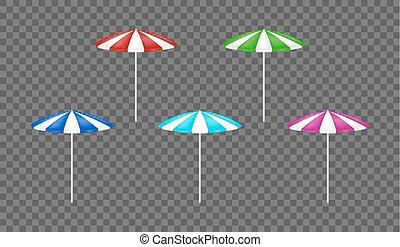 set of a colorful beach umbrella vector
