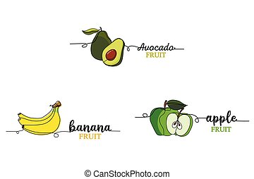 Set of a continuous one line drawing silhouette of a fruits banana, apple, avocado. Vector illustration isolated on the white background.