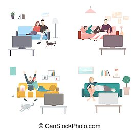 Set of a couple watches TV. Flat colorful illustration. People, men and women in living room, leisure.