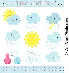 Set of a cute vector weather icons in kawaii style