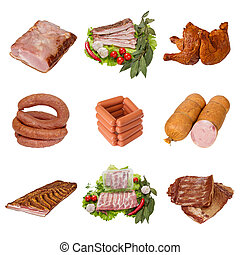 set of a different meat products