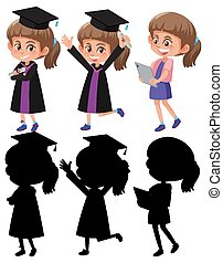 Set of a girl wearing graduation gown in different positions with its silhouette