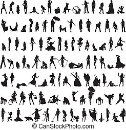 set of a hundred women silhouettes