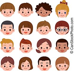 Set of a lot of the child's face