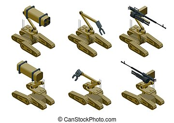 Set of a Military robots of khaki color on white background. Isolated isometric vector illustration