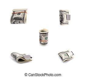 packs of dollars with a rubber band