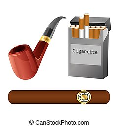 Set of a pipe, cigar and cigarette