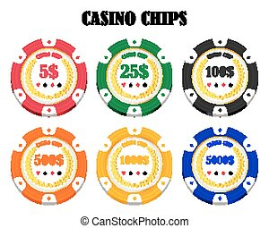 set of a real colorful casino chips