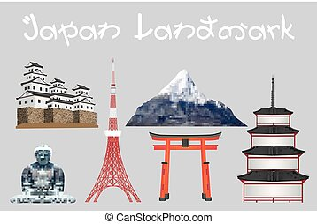 set of a real japan landmark vector