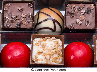 Set of a various chocolate pralines