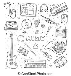 Set of a various musical instruments. Contour illustration.