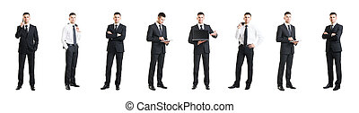Set of a young and handsome businessman isolated on white. Business, career, job, concept.
