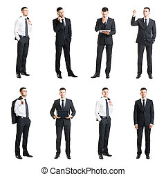 Set of a young handsome businessman isolated on white. Business, career, job, concept.