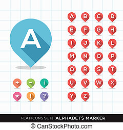 Set of A-Z Alphabet Pin Marker Flat Icons with long shadow...