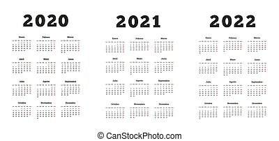 Set of A4 size vertical simple calendars in spanish at 2020...