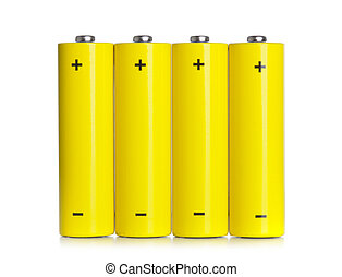 Set of AA batteries on white background