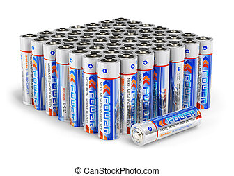 Set of AA size batteries isolated on white background Design...