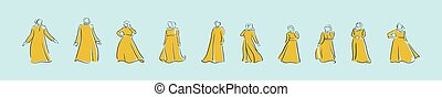 set of abaya cartoon icon design template with various models. vector illustration isolated on blue background