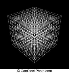 Set of abstract 3D cubes of multiple lines. Square. Digital technology. Futuristic vector illustration.