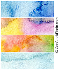 Set of abstract acrylic and watercolor painted background. Paper