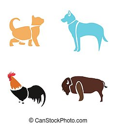 Set of abstract animals
