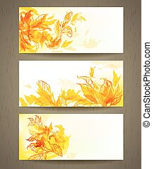 Set of abstract autumn banners
