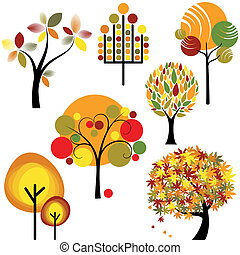 set of abstract autumn tree