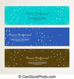 Set of abstract banner background with leaf