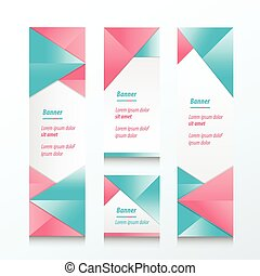 set of abstract banner blue and pink color