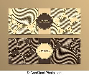 Set of Abstract Banner designs in brown circle